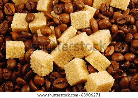 Background from coffee beans and brown sugar