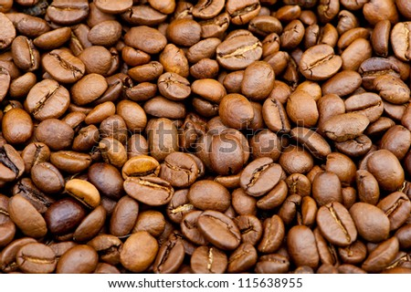 Background from coffee grains. A photo close up