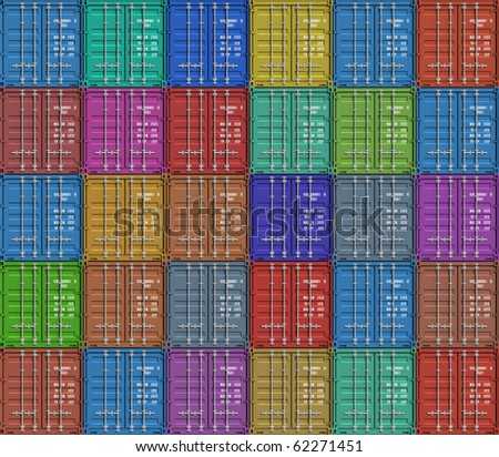 Background from color cargo containers - stock photo