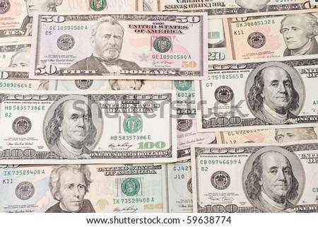 background from dollar horizontal - stock photo