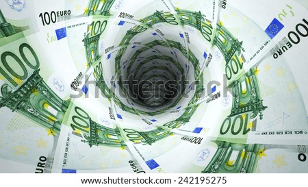 Background from  euro banknotes in perspective view - stock photo