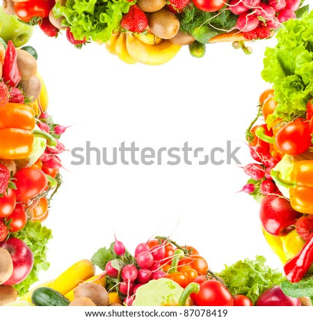 Background from fruit and vegetables - stock photo