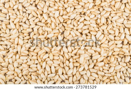 Background from glazed puffed rice, top view
