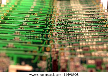 background from green electronic microcircuits - stock photo
