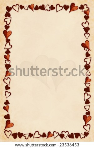 Background from hand painted hearts - stock photo