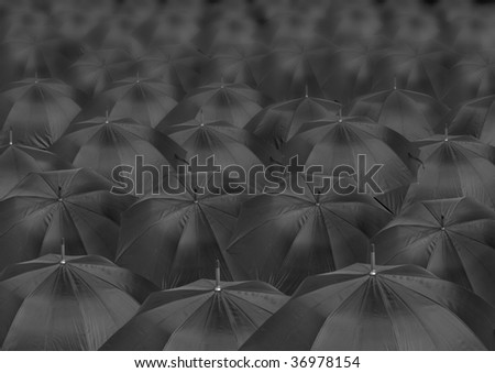 background from infinite black quantities open umbrellas - stock photo