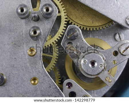 background from interior of  old clock - stock photo