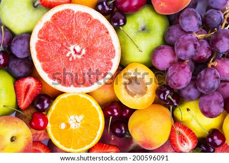 Background from many different exotic fruits