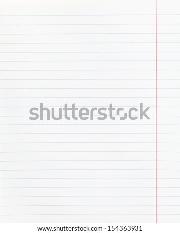 background from notebook wide lined sheet of paper with red margin - stock photo