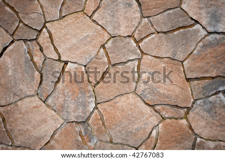 Background from paving stones, irregular natural stones - stock photo