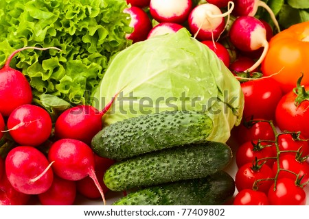 background from radish, cabbage, cucumber, tomatoes and lettuce