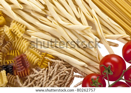 Background from several kinds of the Italian past? and tomatos - stock photo