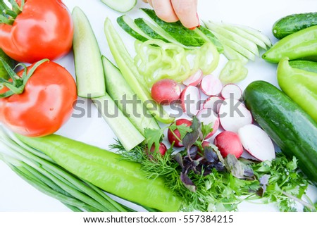 Background from sliced vegetables