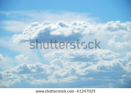 Background from soft white clouds against blue sky - stock photo