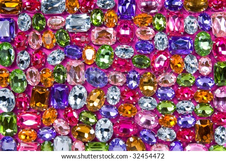 background from various color shiny gems - stock photo