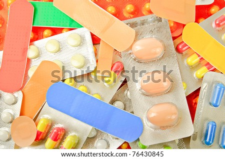 Background from various kinds of medicine pills - stock photo