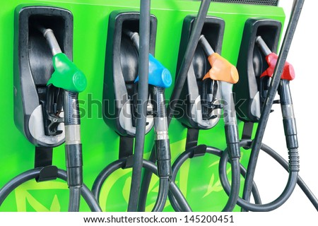background  fuel dispenser at the gas station - stock photo