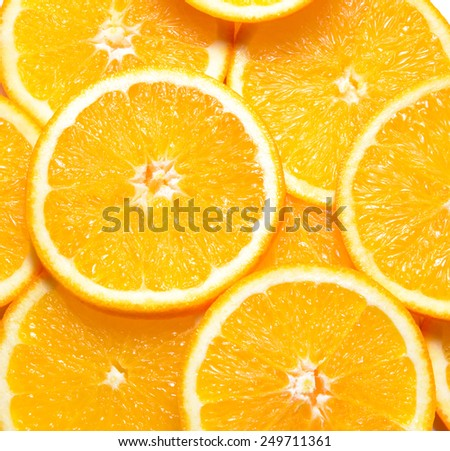 Background Full of Ripe Juicy Orange Slices - stock photo