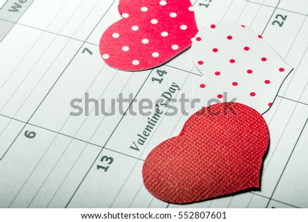 Background. Happy Valentine's Day. Hearts. Love. Calendar