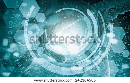 Background high tech image of dna molecule - stock photo