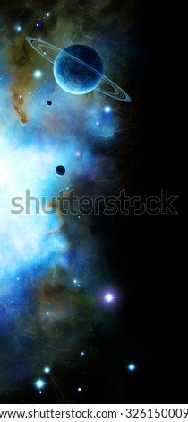 Background illustration of a scene in space with a ring planet and its moons, stars and a blue nebula on black