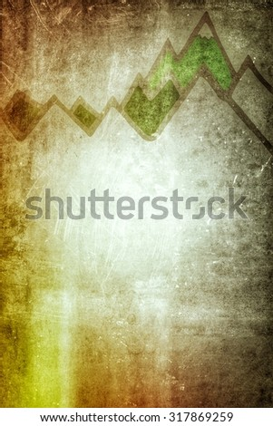Background Illustration of Mountain Range Line Drawing on Rough Surface with Copy Space - Green Mountain Range with Snow Capped Peaks - stock photo