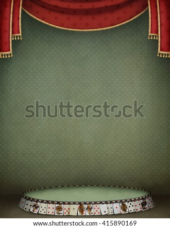 Background illustration with podium of  cards and red curtains - stock photo