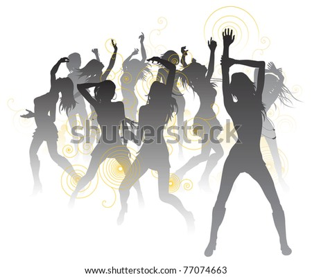 Background illustration with silhouettes of sexy beautiful women dancing - stock photo