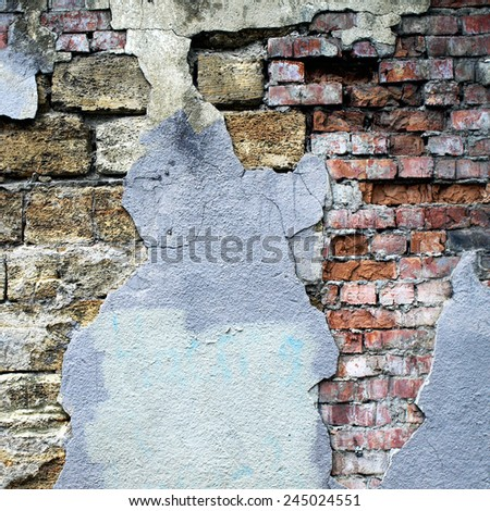Background image for the photo album, photo book with grunge brick old wall and plaster