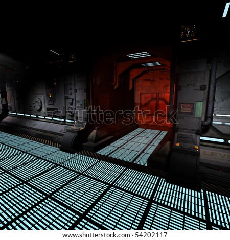background image of a dark corridor on bord of a spaceship. - stock photo