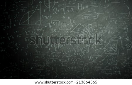 Background image of blackboard with science drawings - stock photo