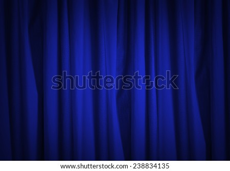 Background image of blue velvet stage curtain