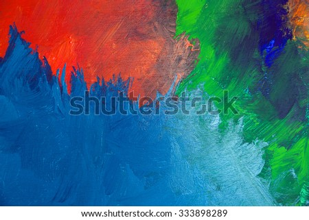 Background image of colorful oil-paint palette closeup - stock photo