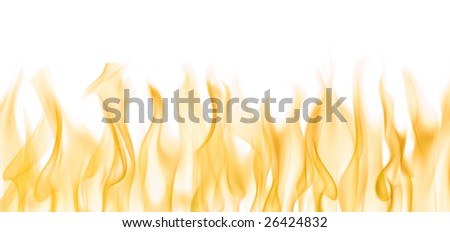 Background image of flames over white - stock photo
