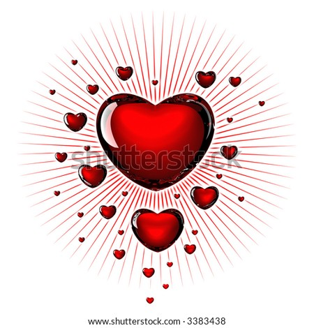 Background image of hearts - stock photo