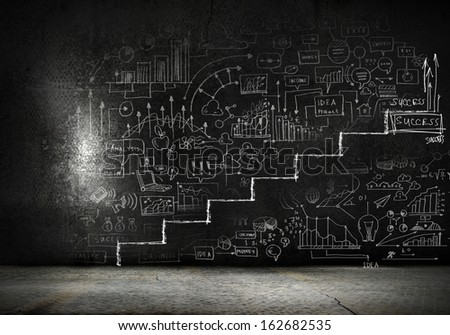 Background image of ladder of success drawn on black wall - stock photo