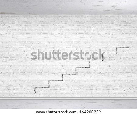 Background image of ladder of success drawn on wall - stock photo