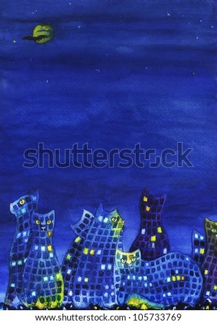 background image of night city with cats and plenty of space for text - stock photo