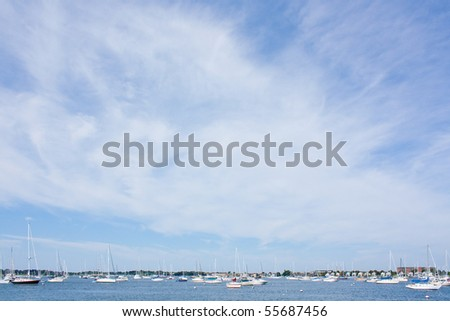 Background image of sailboats on the ocean, with copy space - stock photo