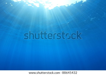 Background image of Sun Rays Underwater - stock photo