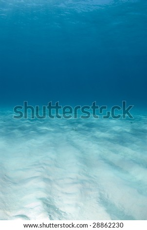Background image of the bright white rippled sand on the ocean floor at Tiger Beach in the Bahamas - stock photo