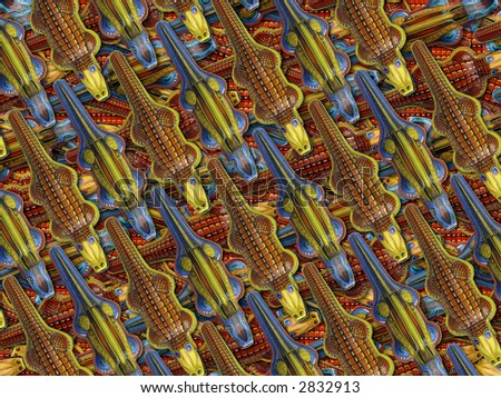background image of tin toy crocodiles in a confused mass - stock photo