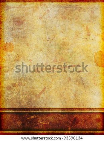 Background image of very old, yellowed and stained grungy parchment with border design.