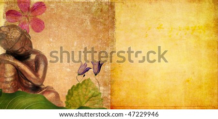 background image with buddha and floral elements - stock photo
