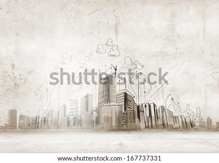 Background image with buildings and urban scenes - stock photo