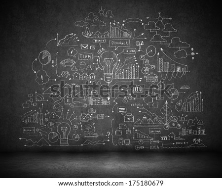 Background image with business strategy sketch on black wall