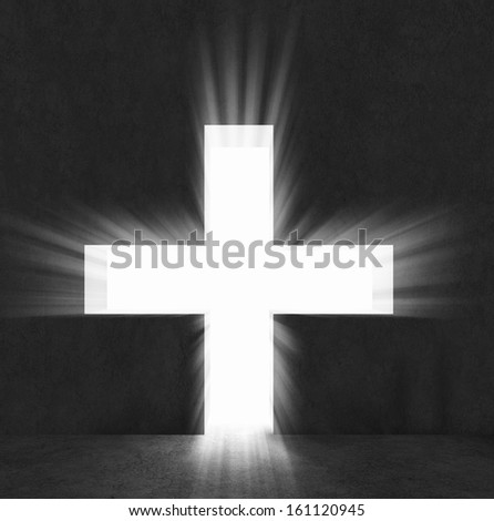 Background image with cross on black wall - stock photo