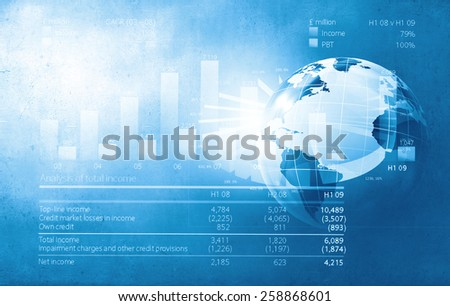 Background image with financial charts and graphs on media backdrop - stock photo