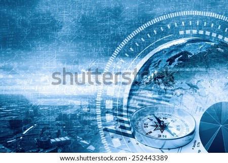 Background image with financial charts and graphs on the table. Elements of this image are furnished by NASA - stock photo