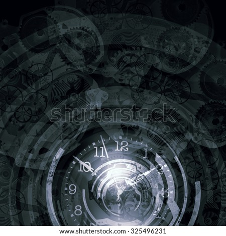 Background image with gears mechanism and time concept - stock photo